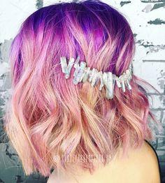 Violet shadow root, melted into raspberry + orchid + and pink lemonade #goodhairdaybysydlopez #headlineshairdesigndentontx #hairandmakeupbysyd