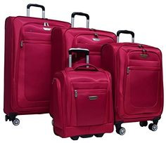 Luggage Sets Collections | Ricardo Eureka 4 Piece Deluxe Superlight Luggage Set 30 26 21  Underseat Bag Raspberry ** Click image for more details. Note:It is Affiliate Link to Amazon.