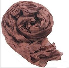 Women Fashion Long Scarf Korean Style Soft Cotton Silk Scarf Brown Colour Scarf #Scarf