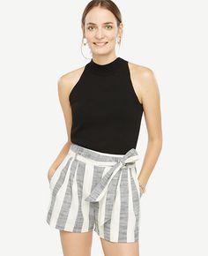 Image of Stripe Fluid Tie Waist Shorts