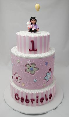 This is my niece's first birthday cake.  Top tier is choc mud, middle tier is a double stack of jaffa mud and white mud, bottom tier is dummy.  Top and bottom tiers were decorated with stripes of pink and pale pink.  Middle tier was decorated with flower cutouts and dotty swirls piped in royal icing.  Top of all tiers were adorned with lots of little pretty cutout flowers.