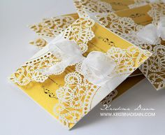 lace wedding invitations with gold insert