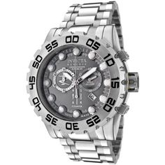Invicta Men's 0811 Reserve Collection Leviathan Chronograph Grey Dial Stainless Steel Watch Invicta. $409.00. Durable flame-fusion crystal; brushed stainless steel case and bracelet. Precise Swiss-quartz movement. Grey dial with silver-tone hands and hour markers; luminous; unidirectional bezel; screw-down crown with pushers. Water-resistant to 1,640 feet (500 M). Chronograph functions with 60 second, 30 minute and 1/10th of a second subdials; date function. Save 71% Off!