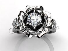 14 k oro blanco diamante flor única inusual anillo de por Jewelice