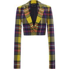 Cropped Tartan Jacket | Moda Operandi (8.340 RON) ❤ liked on Polyvore featuring outerwear, jackets, plaid jacket, white cropped jacket, versace, cropped jacket and white jacket