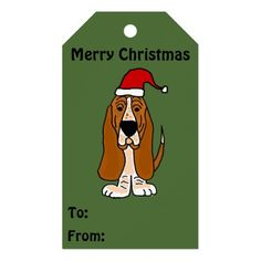 Funny Basset Hound Christmas Gift Tags #Christmas #gifttags #bassethounds #dogs #funny And www.zazzle.com/petspower*