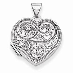 "NEW 14K WHITE GOLD PHOTO HEART LOCKET LOVE REVERSIBLE .95"" PENDANT CHARM 1.37g #Locket"