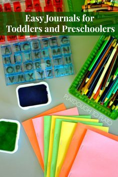 Easy journaling with toddlers and preschoolers! A veteran preschool teacher shares her favorite tips for making DIY writing journals and motivating young children to write! Age: toddler and older Ages: toddler and older Preschool Journals, Preschool Literacy, Kindergarten Writing, Teaching Writing, Writing Activities, Toddler Preschool, Preschool Activities, Teaching Tips, Alphabet Activities