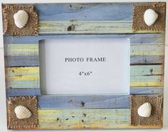 This 4x6 picture frame is decorated with patchworks of beachy colors and seashells in each corner. It's a perfect frame for vacation memories or to decorate a beach cottage or nautical themed home.(http://www.caseashells.com/colorful-4x6-frame-with-seashells/)