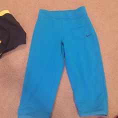 Blue nike cropped Worn once! Nike dri fit dropped athletic pants. ***Size youth large. Fits women's small/ medium Nike Pants