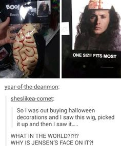 This Is The Best Jensen Ackles Halloween Costume Ever. This is hilarious! Supernatural Bloopers, Supernatural Wallpaper, Supernatural Funny, Supernatural Imagines, Supernatural Rings, Dean Winchester Imagines, Supernatural Tattoo, Winchester Supernatural, John Barrowman