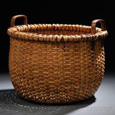 Large Woven Rattan Nantucket Basket, late century, deep, round basket with carved ash handles, ht. Old Baskets, Vintage Baskets, Wicker Baskets, Rustic Baskets, Bamboo Basket, Nantucket Baskets, Fresh Farmhouse, Round Basket, Or Antique