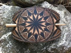 Large floral hand carved leather hair barrette by DIONESAMBROZIUS