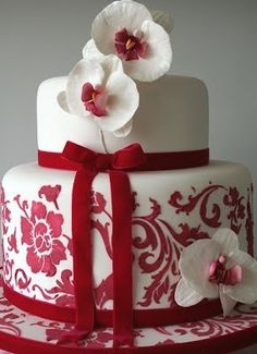 To love someone deeply gives you strength. Being loved by someone deeply gives you courage. Orchid Wedding Cake, Wedding Cake Red, Orchid Cake, Dream Wedding, Wedding Colors, Wedding Ideas, Beautiful Cakes, Amazing Cakes, Damask Cake