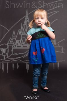 Today I am sharing the next Disney ready outfit in the Everyday Princess series. Today it's Anna, one of Penny's favorites, and perfect since she is a feisty little sister. For the Anna you will need: The Maggie Mae Pattern Kona Cotton (teal, black and royal blue) Green thread Fabric pencil Fabric paint in green …