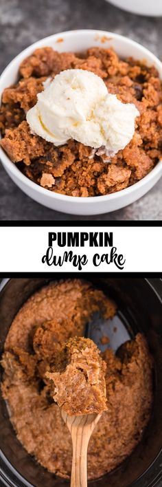 Slow Cooker Pumpkin Dump Cake - This delicious fall dessert is quick and easy! The slow cooker can truly beat your oven for perfectly moist dump cakes. Crockpot Dessert Recipes, Crock Pot Desserts, Dump Cake Recipes, Fall Desserts, Just Desserts, Spice Cake Mix, Dump Cakes, Pumpkin Dessert, Pumpkin Recipes