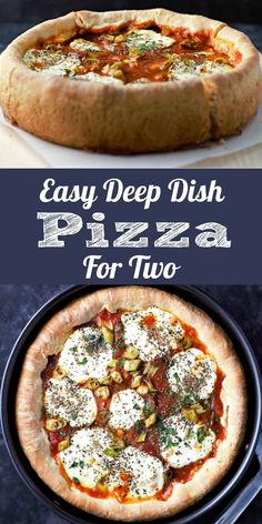 This Easy Deep Dish Pizza is seriously delicious! Fresh homemade pizza dough is topped with fresh mozzarella, pizza sauce and your favorite toppings. Swap out the toppings for whatever you prefer to eat on your pizza including a meatless version. This recipe makes a small batch pizza made in a 9 inch springform pan and cut into 4 slices. Makes an impressive lunch, dinner, or romantic date night meal for two. #DeepDishPizza #pizza #ChicagoStylePizza #LunchForTwo #DinnerForTwo #RecipesForTwo