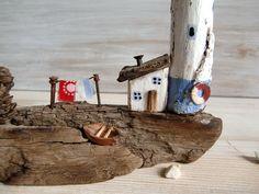 """Морская композиция """"Рыбацкий островок"""", домики, маяк дрифтвуд – купить в интернет-магазине на Ярмарке Мастеров с доставкой - FFI3LRU"""