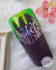 Vinyl Tumblers, Custom Tumblers, Glitter Cups, Glitter Tumblers, Halloween Cups, Cup Crafts, Witches Brew, Tumbler Designs, Tumbler Cups