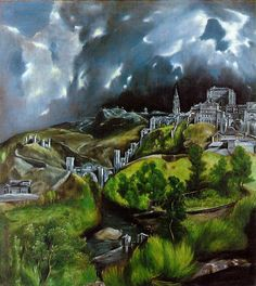 'View of Toledo' El Greco. I saw this in Toledo, Spain when it was on loan from the Metropolitan Museum of Art for a Greco exhibit in March of 2014 in March of 2014 Pin Ups Vintage, Creta, Peter Paul Rubens, Spanish Artists, Oil Painting Reproductions, Paul Gauguin, Wassily Kandinsky, Western Art, Claude Monet