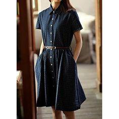 Short Sleeve Turn Down Collar Tiny Dot Print Dress