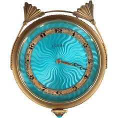 Exceptional Art Deco Bronze Dore Enamel Gubelin 8-day Clock, circa 1925
