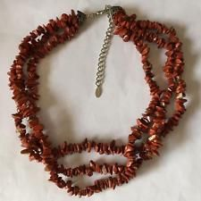 Genuine red stone chips 3 strands necklace with silver tone lobster c... Lot 200