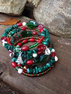 Christmas Spirt - Five Wrap Memory Wire Beaded Bracelet. $40.00, via Etsy.