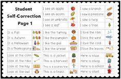 Making and Writing Fall Sentences for Kindergarten {vocab cards  sentence work}$