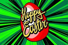 happy easter lettering. rays vector by Rommeo79 on Creative Market