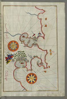 Illuminated Manuscript, Map of the coast of Tunisia with the ports of Bizerte (Binzert) and Tunis (Ṭūnūs) from Book on Navigation, Walters Art Museum Ms. W.658, fol.277b.