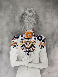 this piece by izziyana is fantastic i love the way she is able to incorporate fine art and embroidery in a fantastic display that where either elements are not over powered