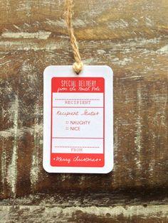 Naughty or Nice Christmas Tag - Red