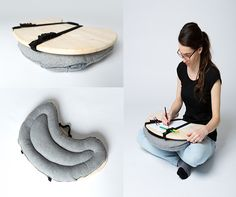 "Wool gives a pleasant feel. Wood keeps the items stable. Very useful nowadays ""Bean Table"" by Zuzana Slezáková"