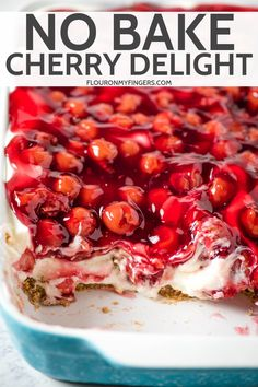Whip up a super easy no bake cherry delight with Dream Whip, cream cheese, and a pecan crust. The best old fashioned recipe straight from Mom's kitchen. Recipes With Cool Whip, Cool Whip Desserts, Cherry Desserts, Cherry Recipes, Easy Desserts, Recipes With Cherries, Cherry Yum Yum Recipe, Cream Cheese Dreams, Cherry Delight Dessert