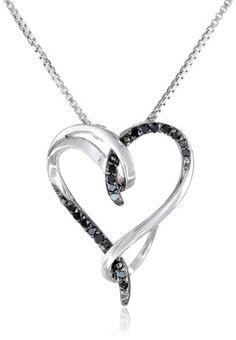 "Sterling Silver Black Diamond Interlocking Heart (1/10cttw) Pendant Necklace, 18"" Amazon Curated Collection http://www.amazon.com/dp/B00K1BKFGW/ref=cm_sw_r_pi_dp_uh1.ub14GARMB"