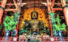 massive buddha in todaji temple in japan hdr