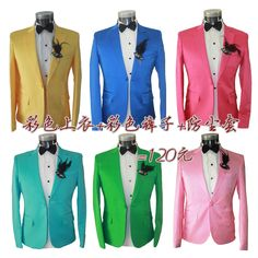 Novelty formal dress jacket for the men's multicolour suit coat photography star style men's clothing fashionable
