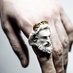 material:marble, sterling silver (925), plated gold (24 K)weight:15g Size guideZeusring is a part of Olympus inspired collection by Macabre Gadgets.Uniting