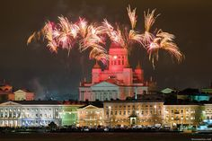 Photo: Niklas Sjöblom, January 1, 2016.  http://taivasalla.net/2016/01/160101_0000_photos_eng.html  New Year 2016 fireworks above Helsinki Cathedral, the Market Square and buildings on Pohjoisesplanadi street. View over the South Harbour from near the Olympia Quay. — in Helsinki, Finland.