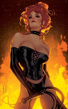 Characters: Dark Queen 'aka' Phoenix Force- Jean Grey´s Clone (Manipuled By Sebastian Shaw & Mastermind) . From: Uncanny X- Men, Marvel Comic Series. Art By: Adam Hughes.