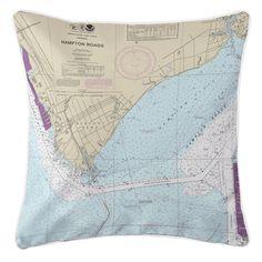 VA: Newport News, VA Nautical Chart Pillow