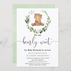 Cute bear gender neutral eucalyptus baby shower invitation Classic Wedding Invitations, Custom Invitations, Gender Reveal Invitations, Baby Shower Invitations, Waiting For Baby, Save The Date Wording, Teddy Bear Baby Shower, Great Gifts For Dad