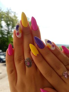 Nail Designs Trendiest Nail Art Ideas of the year you need to have a look . - Nail Designs Trendiest Nail Art Ideas of the year you need to have a look at now - Spring Nail Art, Nail Designs Spring, Spring Nails, Acrylic Nails For Summer Bright, Bright Gel Nails, Bright Colored Nails, Pretty Gel Nails, Colourful Nails, Cute Acrylic Nails