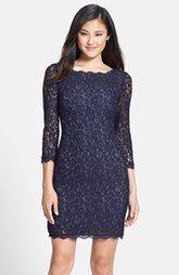 Adrianna Papell Long Sleeve Lace Sheath Dress (Regular & Petite)