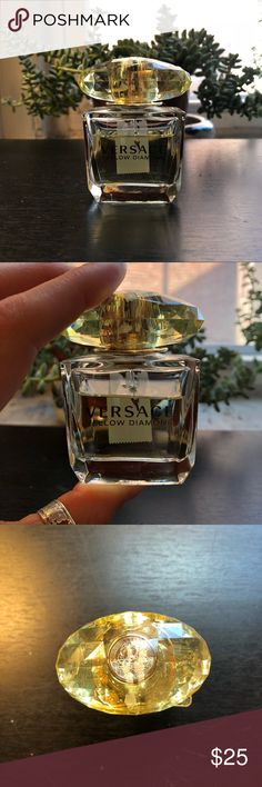 Versace Yellow Diamond 30ml / 1.0 fl oz. Perfume Versace Yellow Diamond 30ml/1 oz eau de toilette. Retail price is $58. Bottle has 90% of the perfume left—approx. 10% has been used (see photos for level/amount remaining). There is a mark on the bottle from a strip of tape I'd once put over the top to keep it closed while traveling (see photo). Excellent condition with no dents or scratches on the bottle, and with ~90% of the perfume remaining.  Thanks so much for checking out my listing…