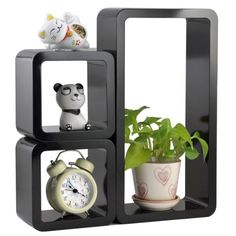 Wall Shelf Set 3 Floating Storage Wall Shelves Cube Rectangle Black   Buy Online In India only on fabque.com