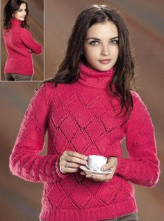 Pullover with Diamond Pattern #Knitting Size: 8-10 (US 4-6). http://knitchart.com/item/pullover-with-diamond-pattern.html