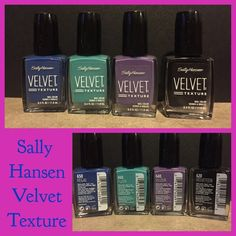 Sally Hansen Velvet Texture Nail Polish Bundle NWT This is for 4 velvet texture nail polishes. This is sold as a bundle lot and will not be broken up. The colors are regal, plush, velour, and velveteen. These are all brand new. Each one retails for $6 each and together as $24. These are hard to find and rare. They have stopped making this line. Open for reasonable offers or bundling. Sally hansen Makeup