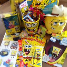 Goodie bag for spongebob party ALL THAT STUFF!!!!!! I WANNA BE AT THAT PARTY!!!!!!!!!